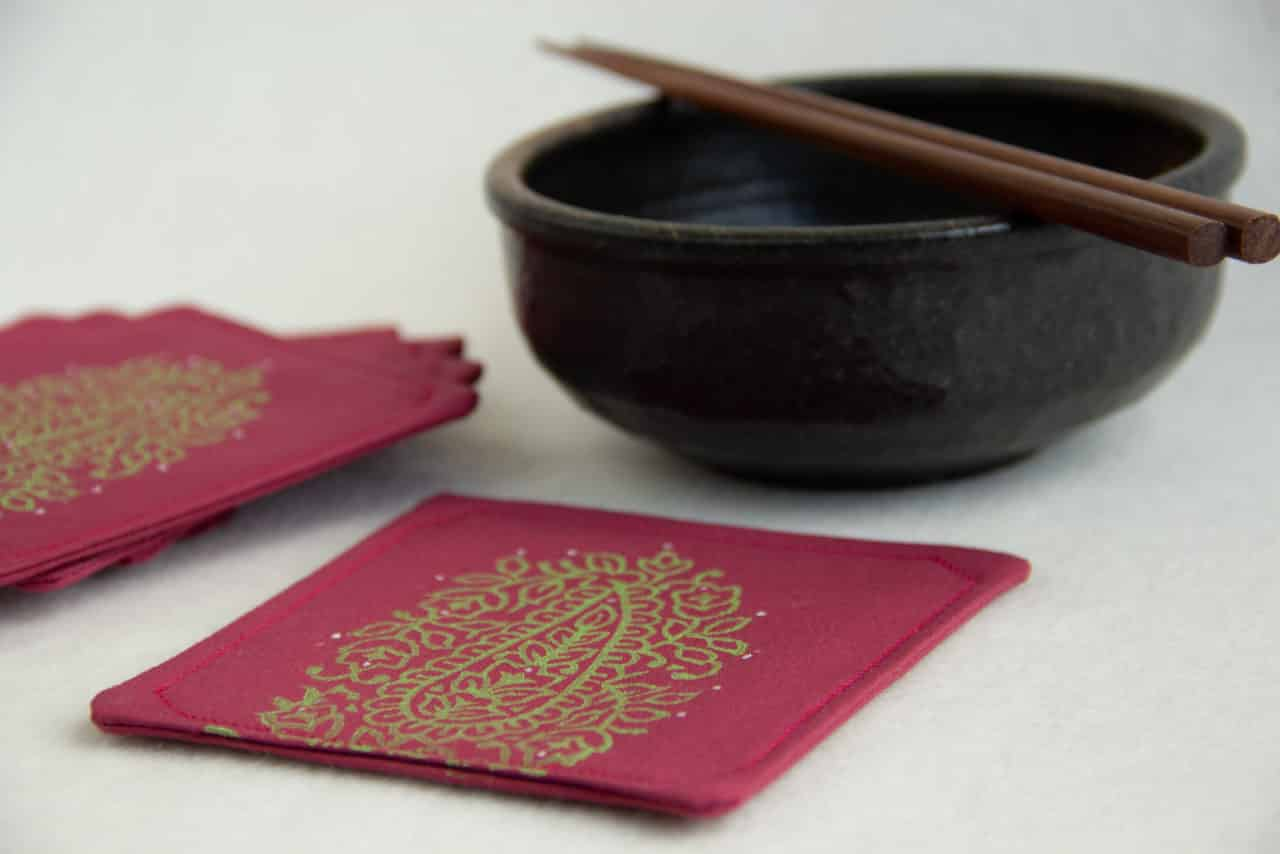 Coasters with bowl and chopsticks