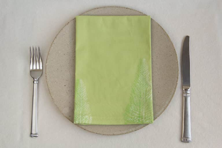 Napkin with dinner plate and silverware