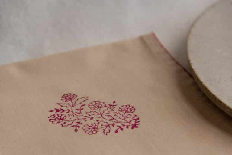 Close-up view of the corner of a napkin