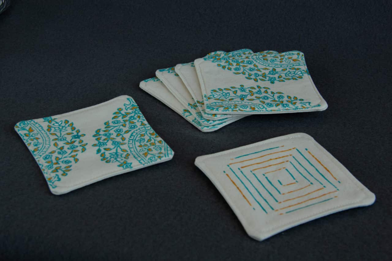Six coasters with patterns on both sides